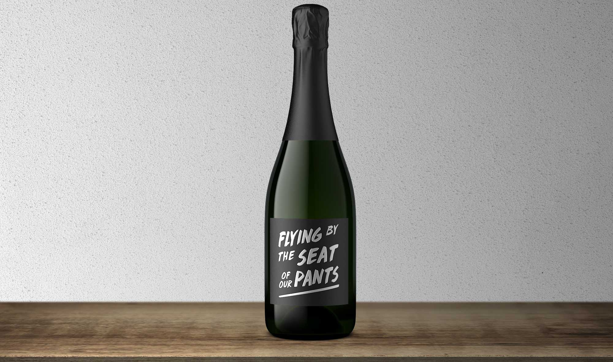 """Flying by the Seat of Our Pants"" Brut bottle"